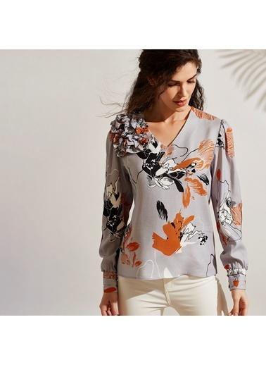Vekem-Limited Edition V Yaka Desenli Bluz Gri